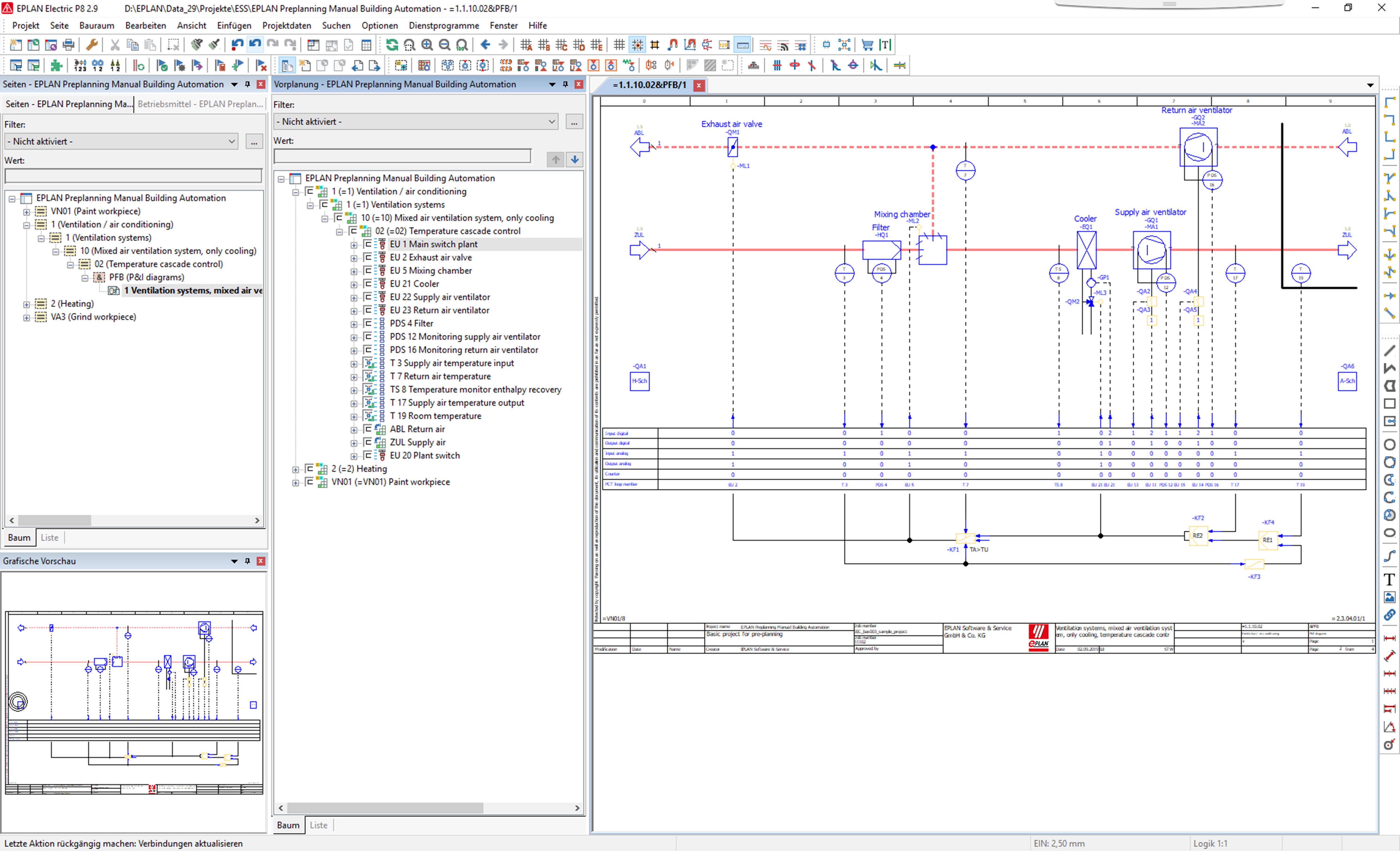 Regelschema mit Darstellung des Seiten-Navigators und Vorplanungs-Navigators in der Eplan Plattform