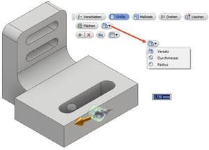 """CAD-Modelle aus fremden Systemen bearbeiten: Die Funktion """"Direkt Bearbeiten"""" am Beispiel """"Größe""""."""