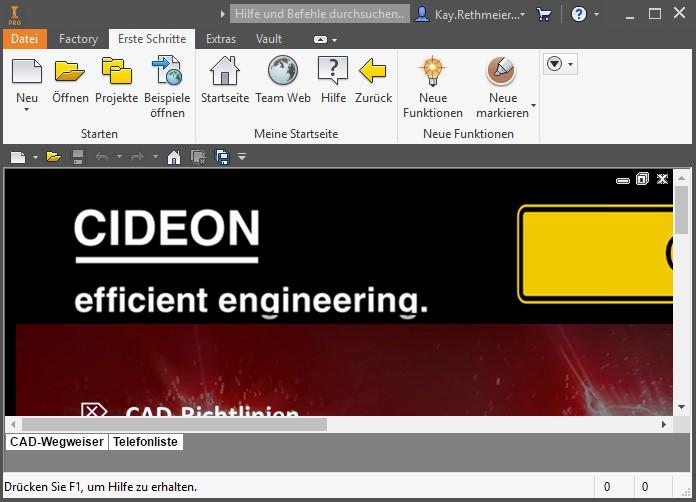 Die individuell konfigurierte Webseite beim Starten von Autodesk Inventor.