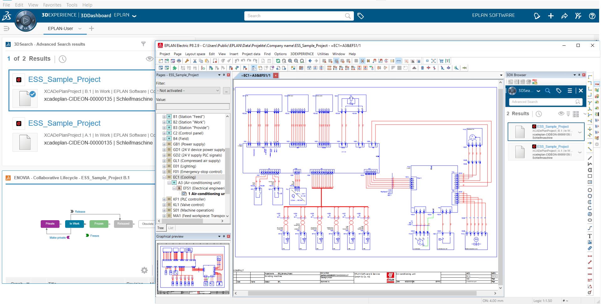 Eplan und 3DExperience von Dassault Systèmes im Einklang: Der neue PLM 3DExperience Connector lässt beide Anwendungen bidirektional kommunizieren.