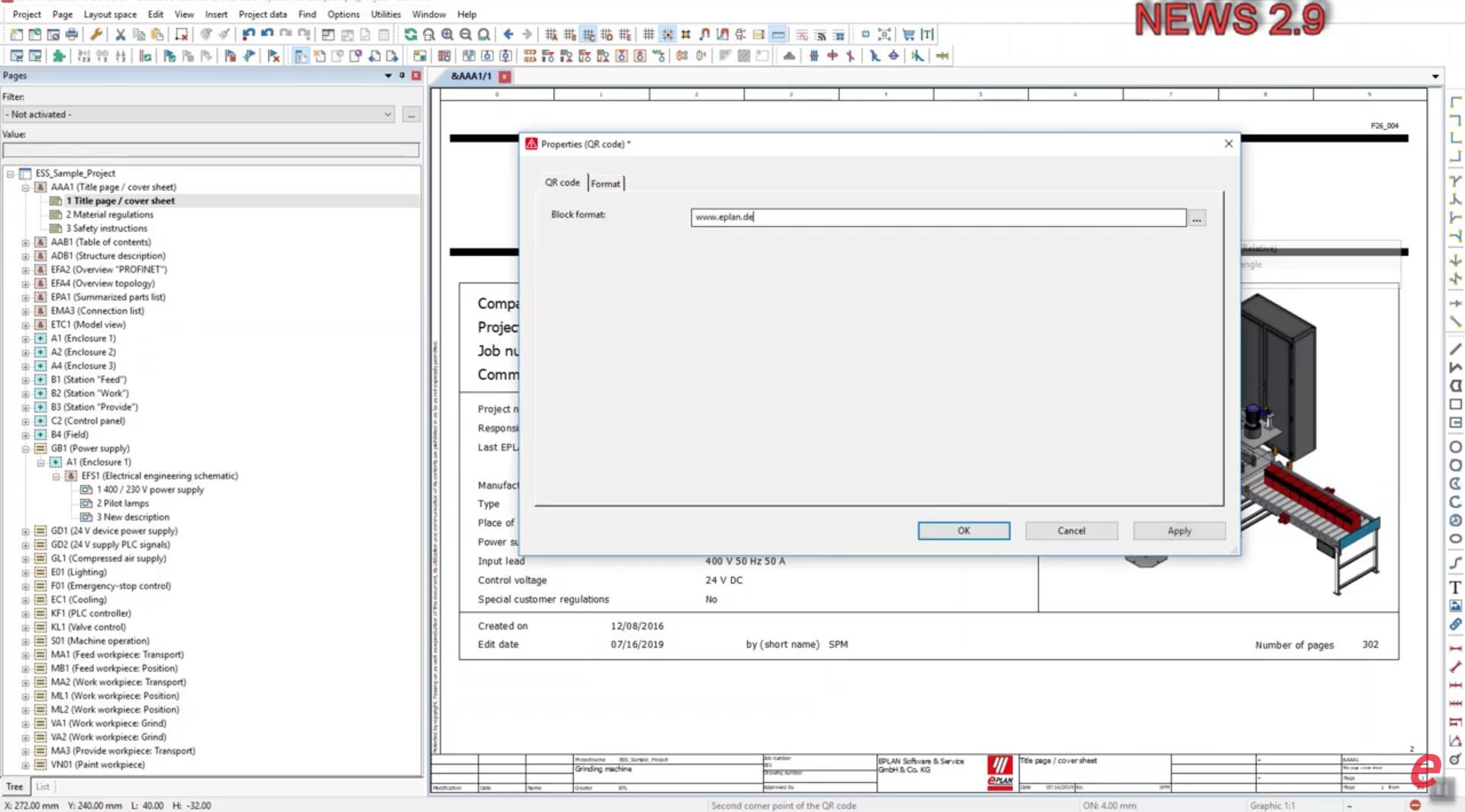 Registerkarte QR Code im Feld Block format
