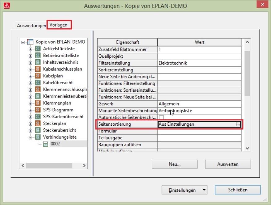 Auswertungen nach diversen Strukturkennzeichen (Einbauort, Dokumentart, Anlagennummer, etc.) lassen sich im Eplan System mit wenigen Klicks generieren.