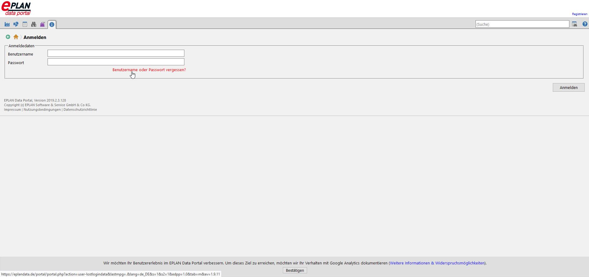 Eplan Data Portal Passwort vergessen