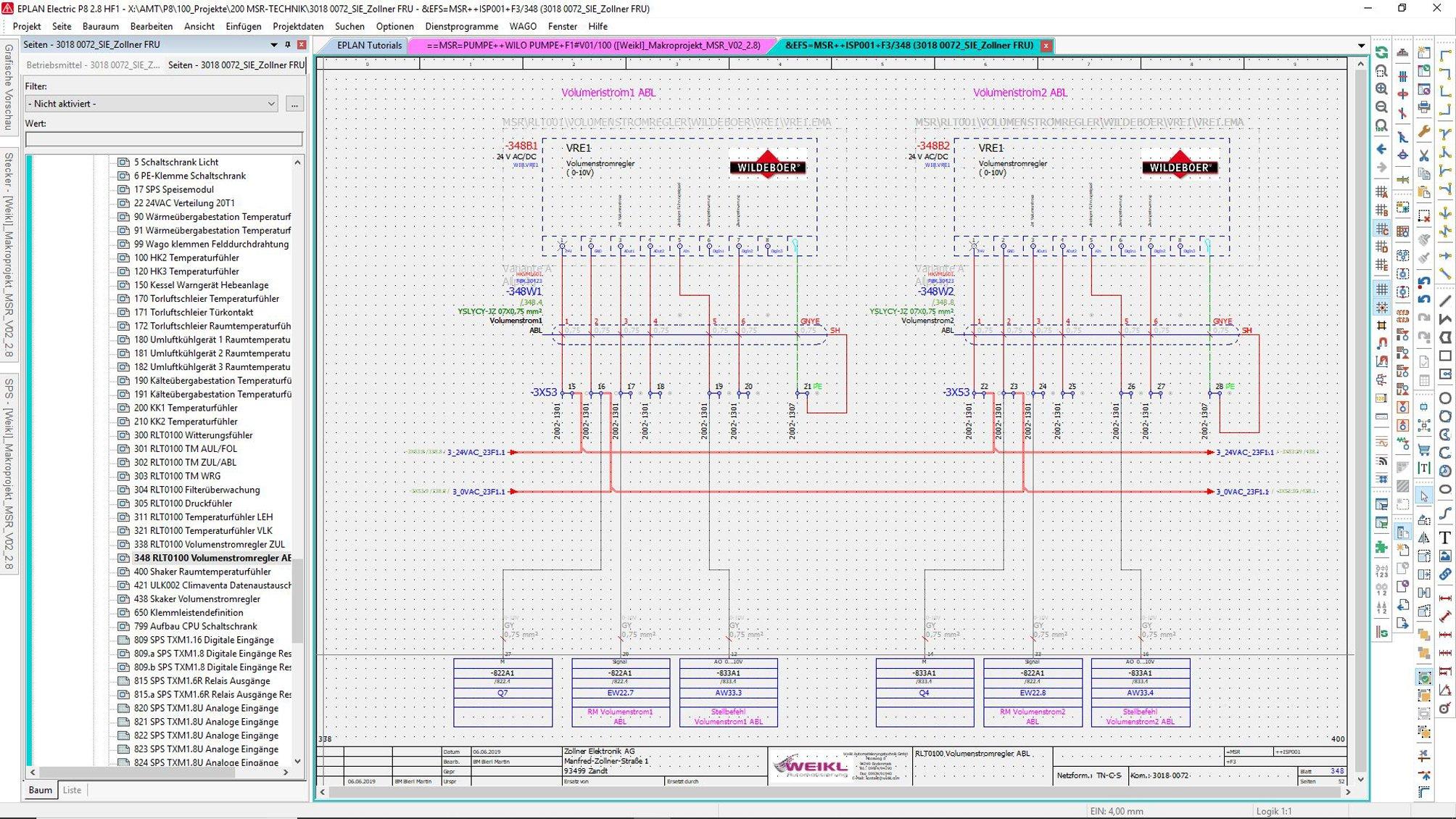 Eplan Volumenstromregler Stromlaufplan