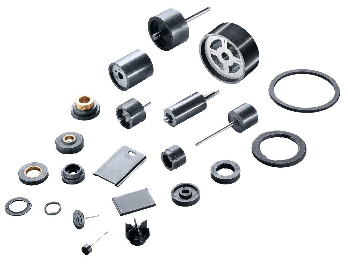 Übersicht typischer Produkte von MS-Schramberg: kunststoffgebundene gespritzte Magnete.