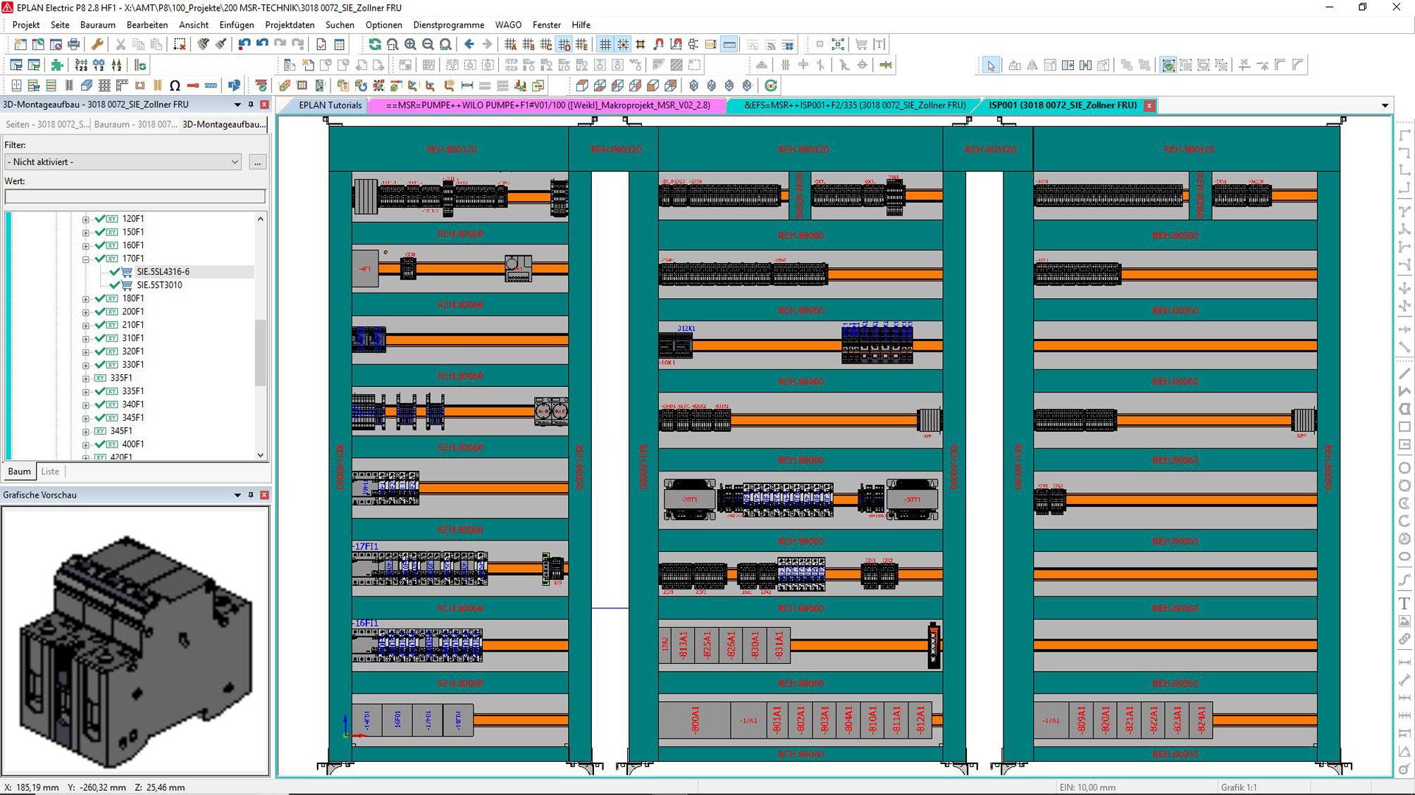 EPLAN ProPanel_3D Montageplattenaufbau
