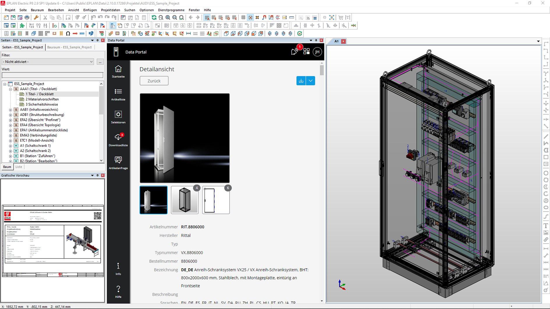 Screenshot EDP Rittal Schrank
