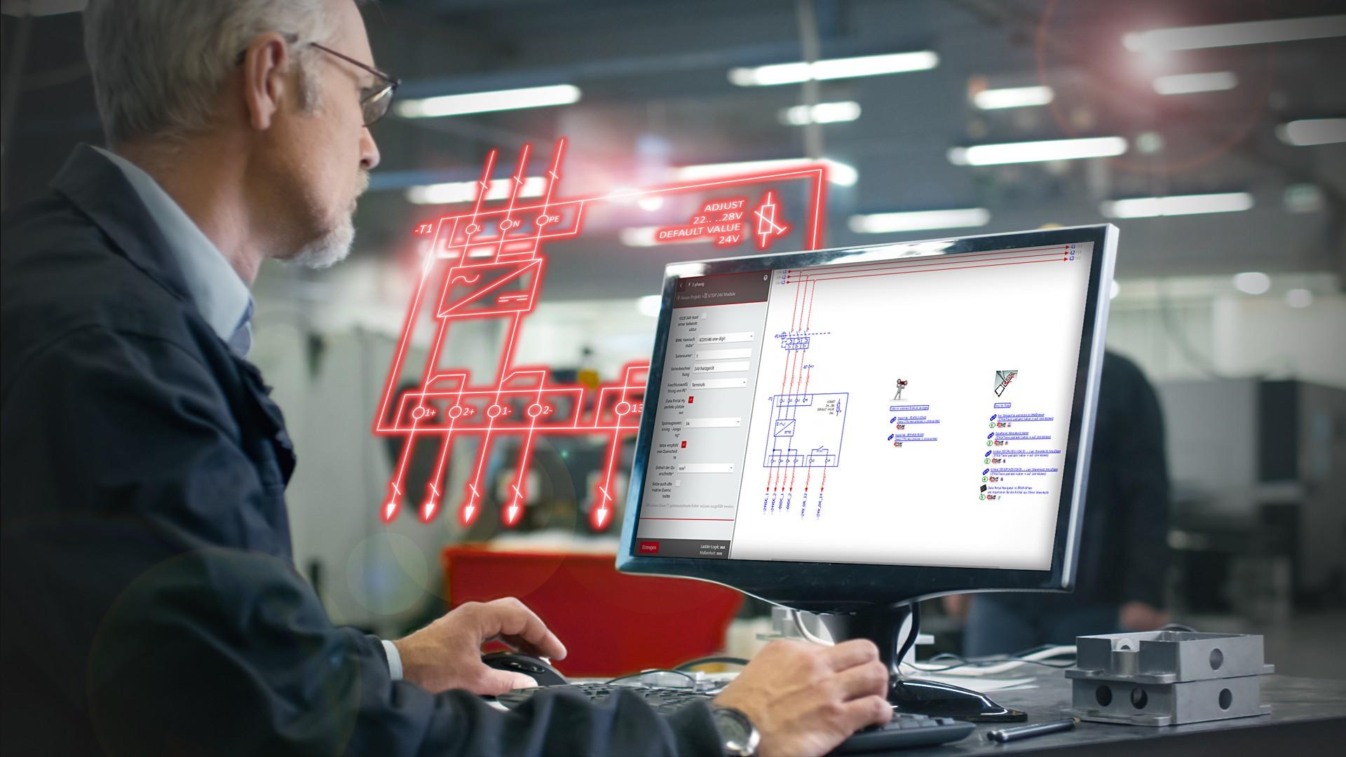 Ingenieur arbeitet mit EPLAN Software - Schaltplanung