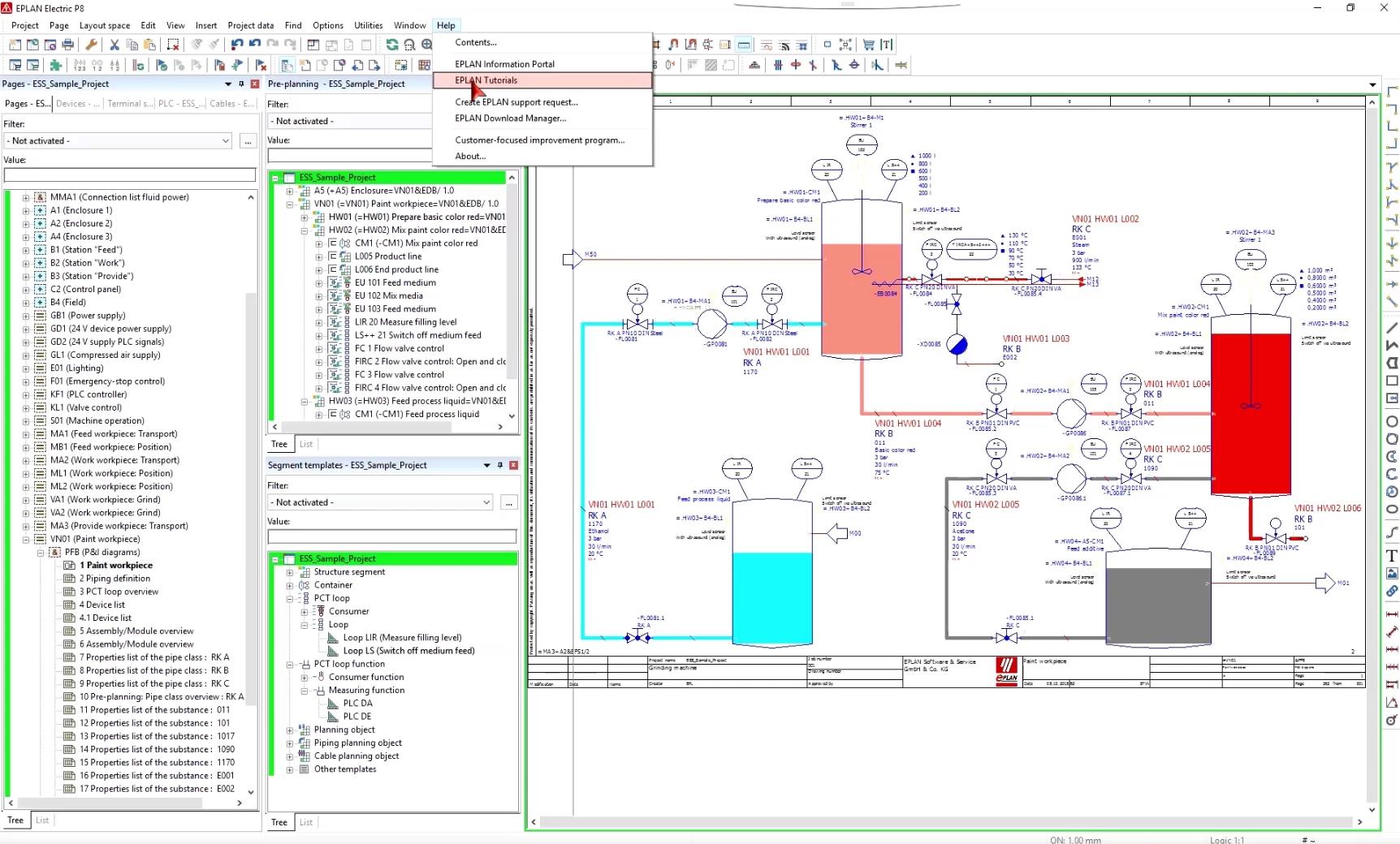 """Über die Hilfe und """"Eplan Tutorials"""" in der horizontalen Menüleiste in Eplan, gelangen Anwender mit zwei Klicks zum """"Let´s Eplan"""" Portal mit aktuellen Software-Tipps und Infos rund um Eplan."""