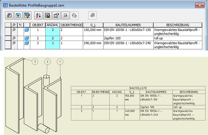 Formatierte fertige Stückliste mit der Anzahl der Profile sowie der jeweiligen Profillängen